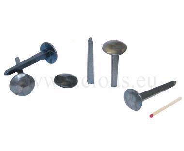 Chiodo a testa larghissima e martellata in acciaio forgiato bluito (25 nails)
