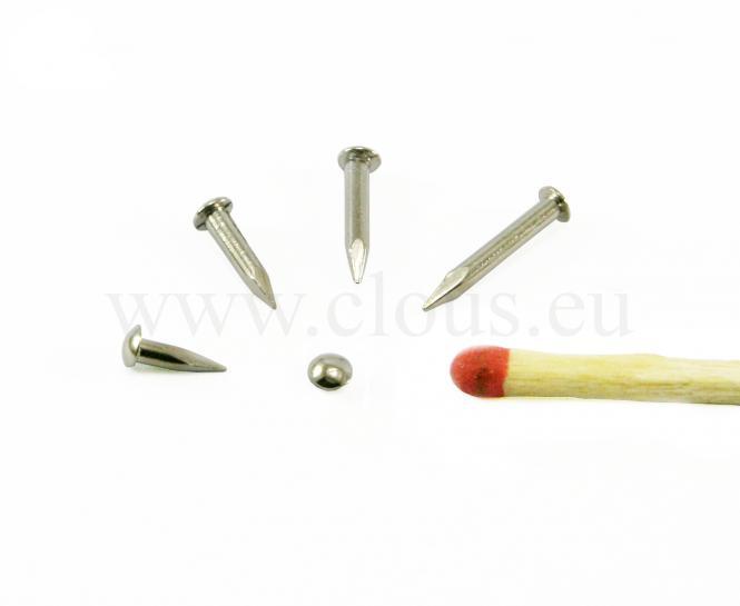 """Chiodo """"Losine"""" a testa rotonda in ottone rivestito di nichel (1000 clous) L : 5 mm - Ø 1.5 mm"""